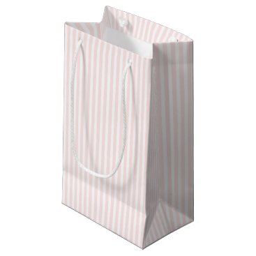 USA Themed Charlotte Pink and White Stripes Baby Pink Small Gift Bag