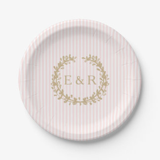 Charlotte Pink Pastel Pink Wreath and Sprig Paper Plate