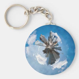 charlotte planet skyline basic round button keychain