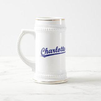Charlotte script logo in blue beer stein