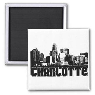 Charlotte Skyline 2 Inch Square Magnet