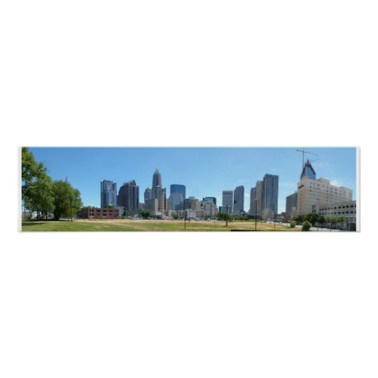 Charlotte Skyline Day - full @ 30.5x7.5 Poster