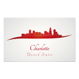 Charlotte skyline in network photo print