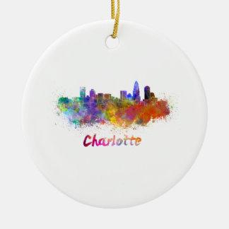 Charlotte skyline in watercolor ceramic ornament
