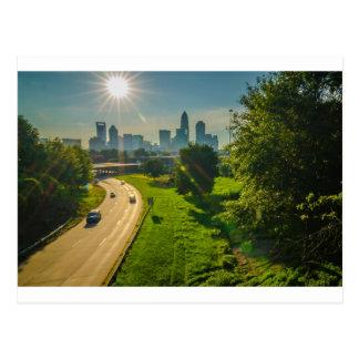 charlotte skyline north carolina postcard