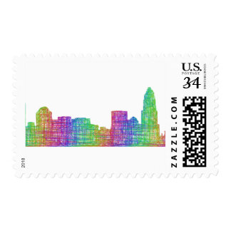 Charlotte skyline stamp