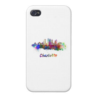 Charlotte V2 skyline in watercolor Covers For iPhone 4