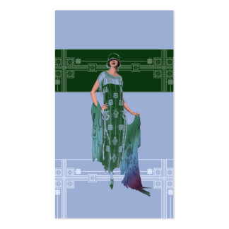 Charlotte's Shawl: 1920s Fashion in Blue & Green Business Card Template