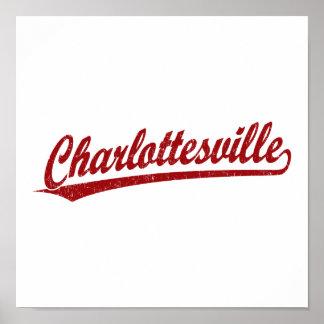Charlottesville script logo in red poster