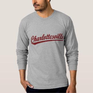 Charlottesville script logo in red T-Shirt