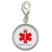 Charm Bracelet Medical Alert Diabetic Type 2