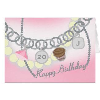 Charm Bracelet & Pearls Jewelry Birthday Card