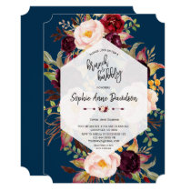 Charm Burgundy Floral Geometric Brunch and Bubbly Invitation