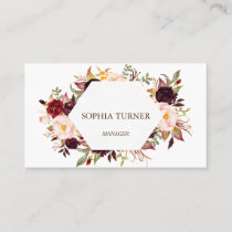 Charm Burgundy Marsala Floral Geometric Business Card