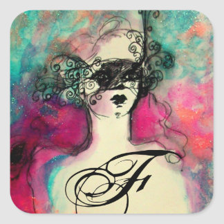 CHARM /Lady With Mask Monogram Pink Teal Green Square Sticker