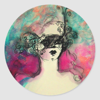 CHARM /Lady With Mask Pink Teal Green Classic Round Sticker