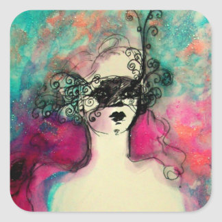 CHARM /Lady With Mask Pink Teal Green Square Sticker