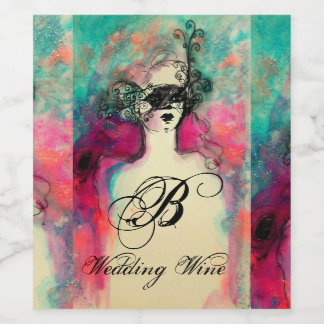 CHARM /Lady With Mask Wedding Monogram Pink Teal Wine Label