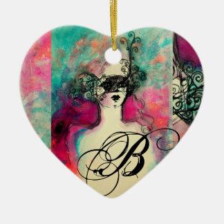 CHARM MONOGRAM,Heart Ceramic Ornament