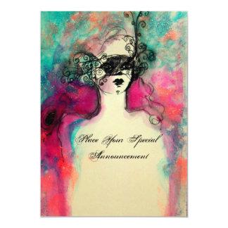 CHARM MONOGRAM , Sweet 16 Masquerade Party 5x7 Paper Invitation Card