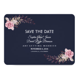 Charm Navy Blue Maroon Boho Floral Save The Date Card
