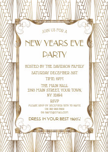 charm old hollywood white great gatsby new year invitation