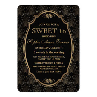 Charm Roaring 20s Great Gatsby Art Deco Sweet 16 Card
