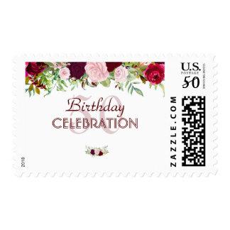 Charm Rustic Burgundy Marsala Floral Wedding Postage