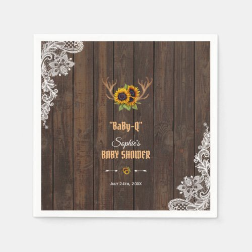 Charm Sunflowers Antlers BaBy-Q Baby Shower Napkin