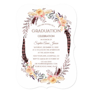 Charm Watercolor Boho Floral GRADUATION Invitation