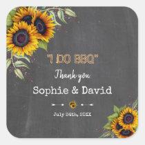 Charm Watercolour Sunflowers Chalkboard I DO BBQ Square Sticker