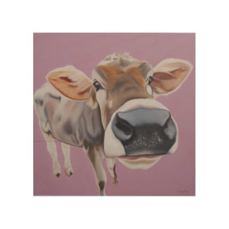 """""""Charmed, I'm Sure"""" Cow on pink background. Wood Print"""