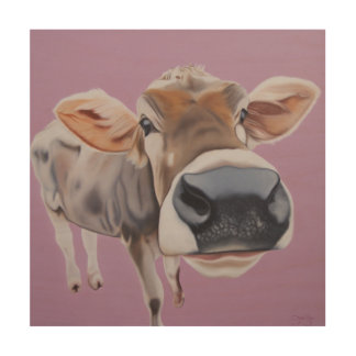 """ Charmed, I'm Sure "" cow on pink background. Wood Wall Decor"