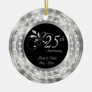 Charming 25th Silver Wedding Anniversary Ceramic Ornament