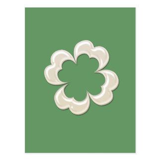 Charming adorable chic pearl lucky shamrock postcard