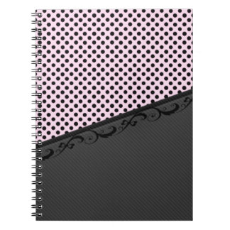 Charming adorable lace discrete stripes polka dots notebook