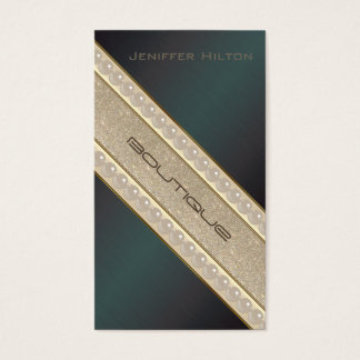 Charming adorable metal look glittery pearls business card