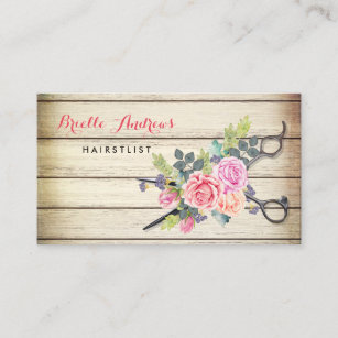 Hairstylist business cards templates zazzle charming barn wood scissors and roses hairstylist business card colourmoves