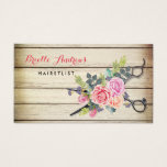 Charming Barn Wood Scissors And Roses Hairstylist Business Card at Zazzle