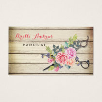 Charming Barn Wood Scissors and Roses Hairstylist Business Card