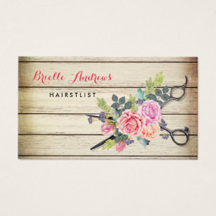 Hairstylist business cards templates zazzle charming barn wood scissors and roses hairstylist business card colourmoves Image collections