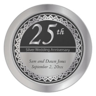 Charming Black and Silver 25th Silver Anniversary Dinner Plate