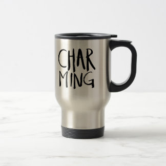 Charming   Black Brush Script style 15 Oz Stainless Steel Travel Mug