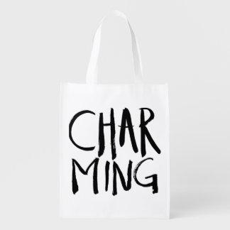 Charming | Black Brush Script style Reusable Grocery Bag