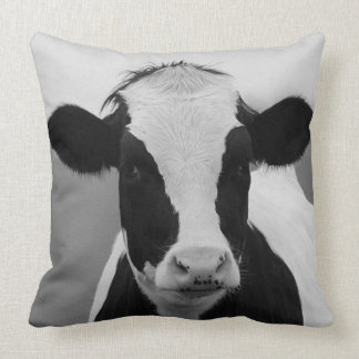 Charming Black & White Cow Throw Pillow