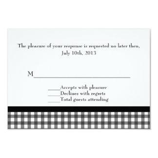 Charming Black & White Gingham Wedding Card