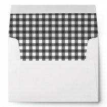Charming Black & White Gingham Wedding Envelope