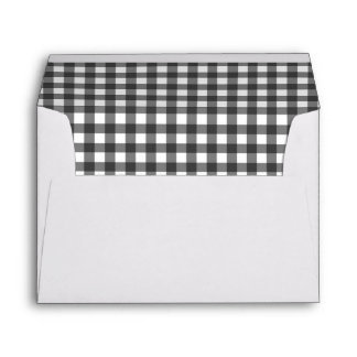Charming Black & White Gingham Wedding Envelope