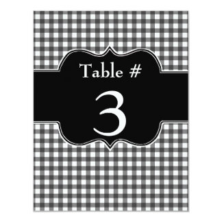 Charming Black & White Gingham Wedding Table Card
