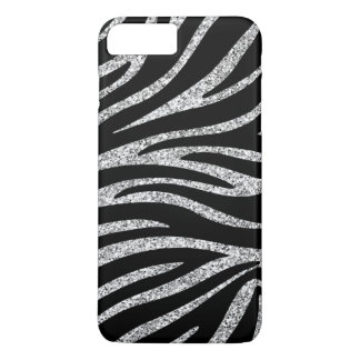 Charming Black Zebra Print Silver Glitter Sparkles iPhone 8 Plus/7 Plus Case
